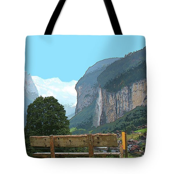 Vintage Switzerland Alps And Waterfall Tote Bag
