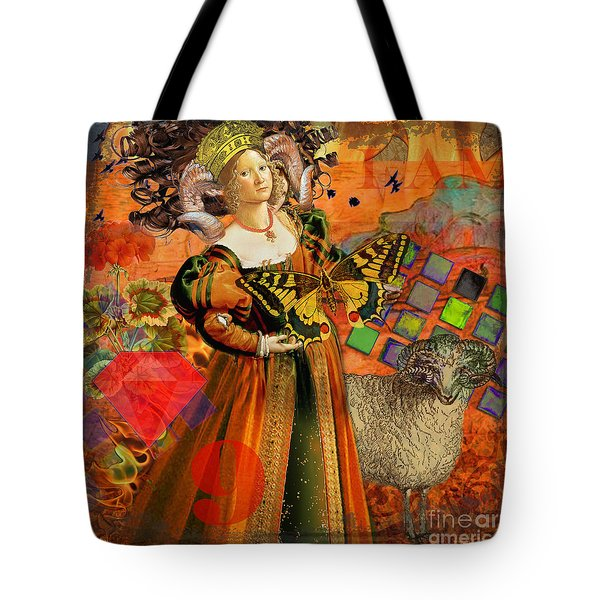 Vintage Taurus Gothic Whimsical Collage Woman Fantasy Tote Bag