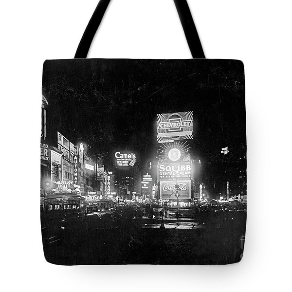 Tote Bag featuring the photograph Vintage Times Square At Night Black And White by John Stephens