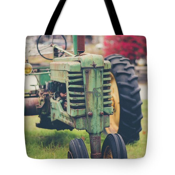 Tote Bag featuring the photograph Vintage Tractor Autumn by Edward Fielding