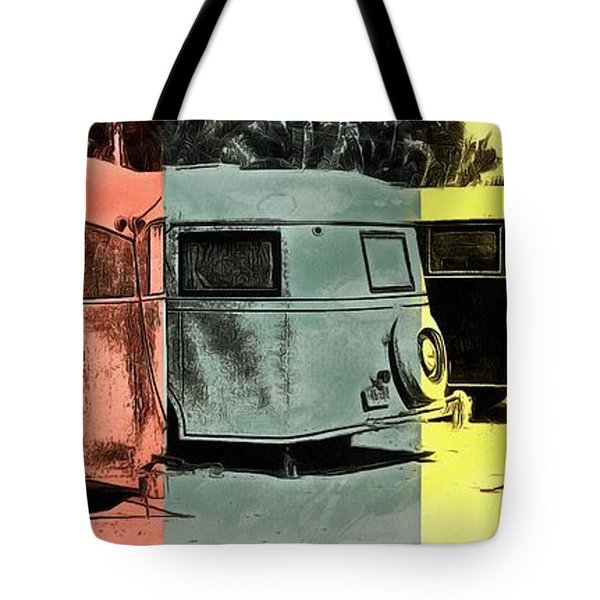Tote Bag featuring the painting Sarasota Series Vintage Trailer Park Pop Art by Edward Fielding
