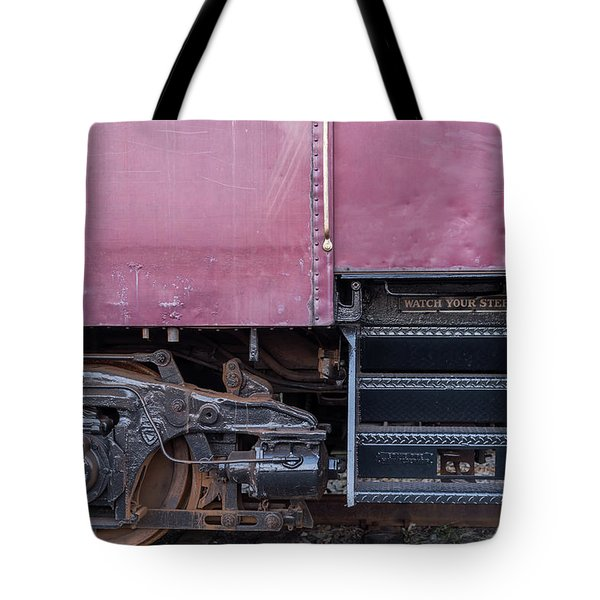 Vintage Train Car Steps Tote Bag by Terry DeLuco