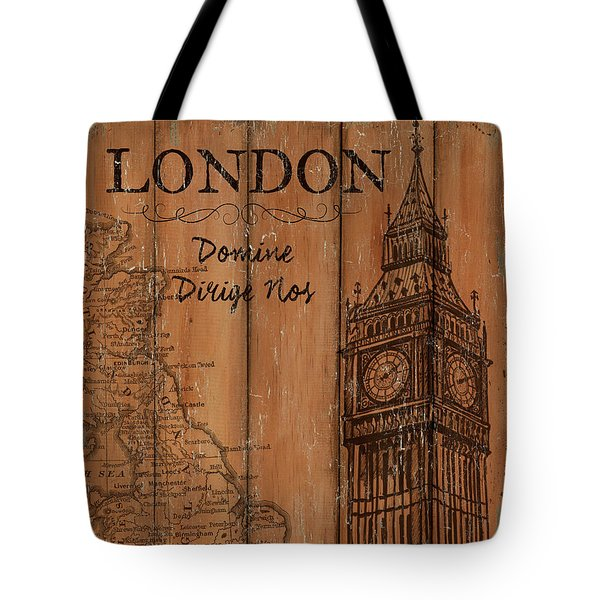 Tote Bag featuring the painting Vintage Travel London by Debbie DeWitt