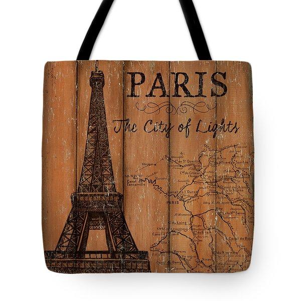 Tote Bag featuring the painting Vintage Travel Paris by Debbie DeWitt