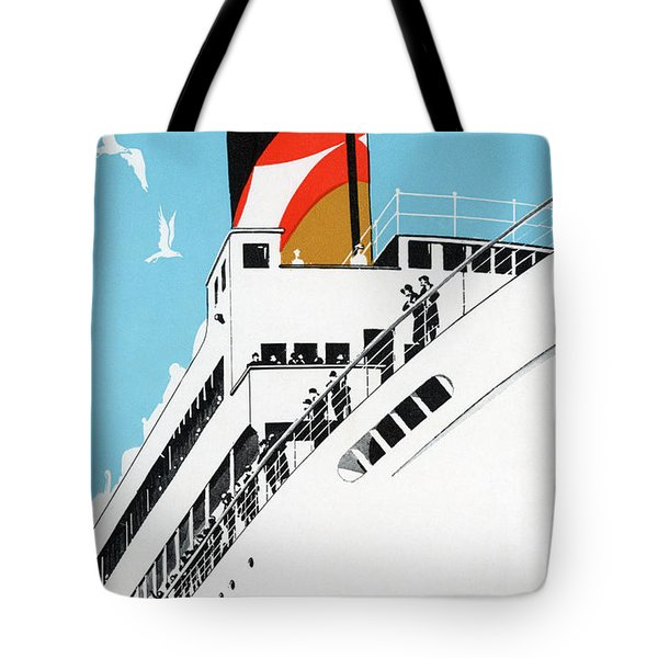 Vintage Travel Poster A Cruise Ship With Passengers, 1928 Tote Bag
