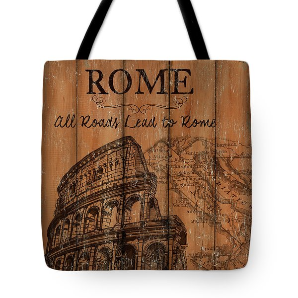 Tote Bag featuring the painting Vintage Travel Rome by Debbie DeWitt
