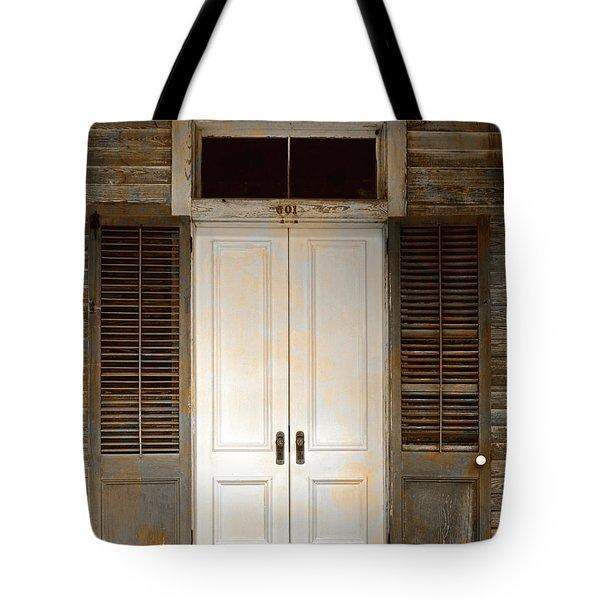 Vintage Tropical Weathered Key West Florida Doorway Tote Bag by John Stephens