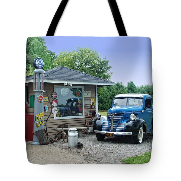 Tote Bag featuring the photograph Vintage Truck And Filling Station by Judy  Johnson