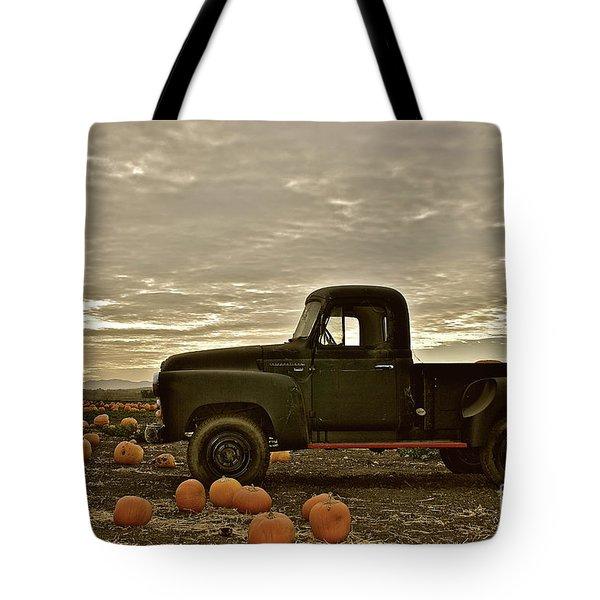 Vintage Truck Two In Pumpkin Graveyard Tote Bag
