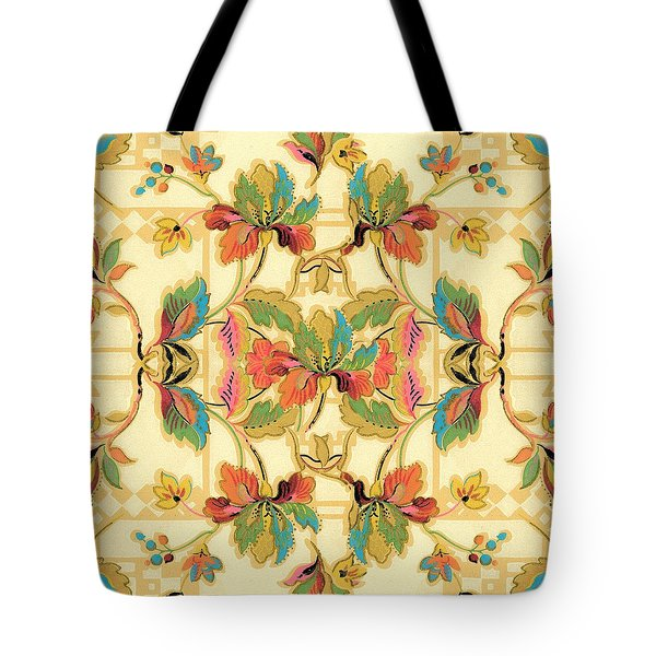 Tote Bag featuring the digital art Vintage Turquoise Orange Floral Wallpaper Pattern by Tracie Kaska
