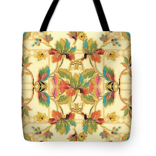 Vintage Turquoise Orange Floral Wallpaper Pattern Tote Bag