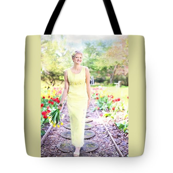 Vintage Val In Tulips Tote Bag