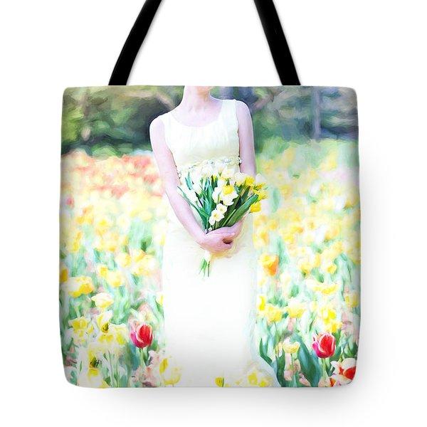 Vintage Val Spring Tulips Tote Bag