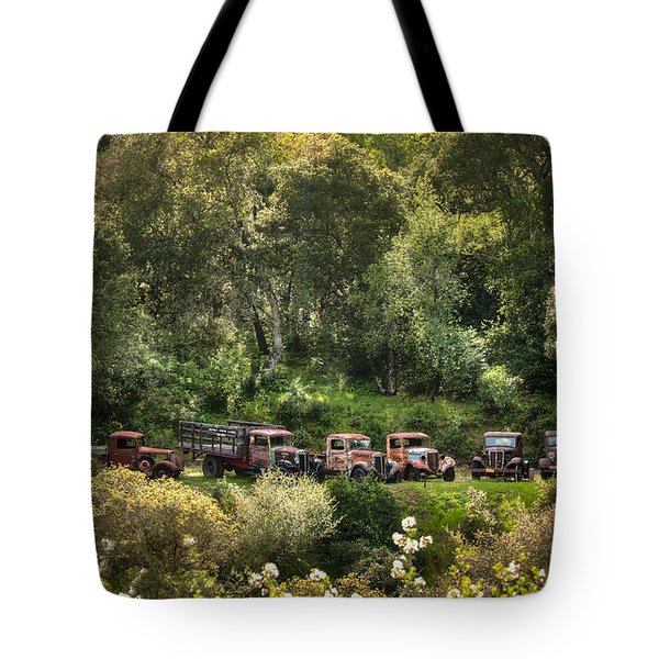 Vintage Vehicles In The Spring Tote Bag