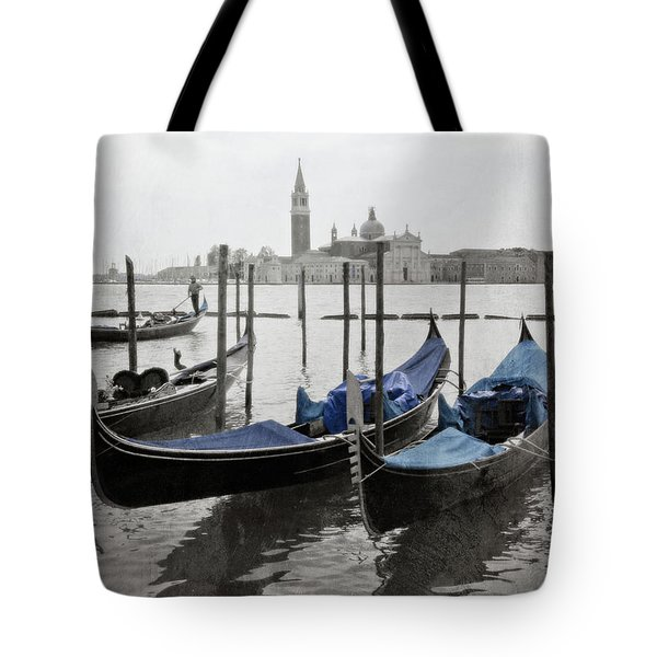 Vintage Venice In Black, White, And Blue Tote Bag