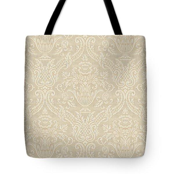 Vintage Wallpaper Beige Floral Elegant Damask Tote Bag