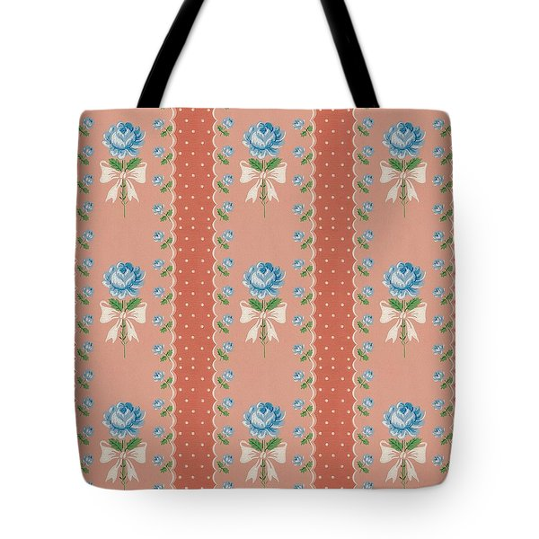 Tote Bag featuring the digital art Vintage Wallpaper Blue Roses Coral Polka Dots by Tracie Kaska