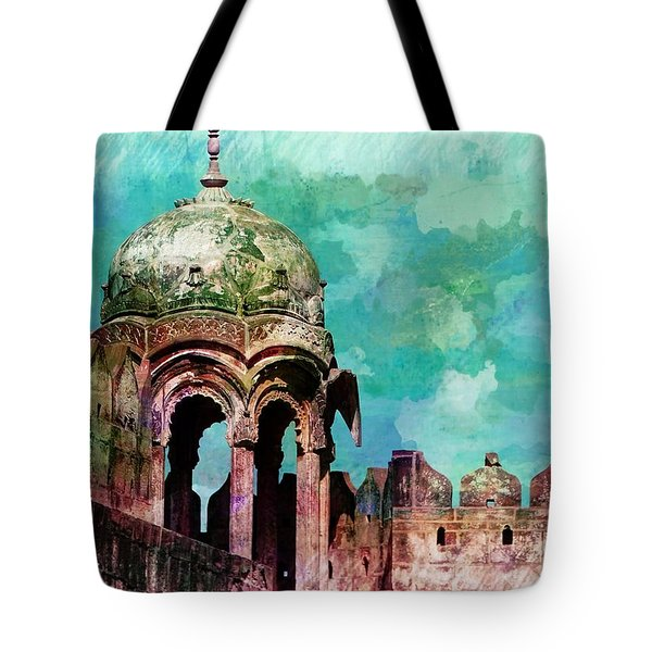 Vintage Watercolor Gazebo Ornate Palace Mehrangarh Fort India Rajasthan 2a Tote Bag