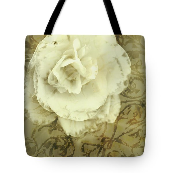 Vintage White Flower Art Tote Bag