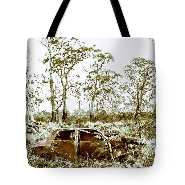 Vintage Winter Car Wreck Tote Bag