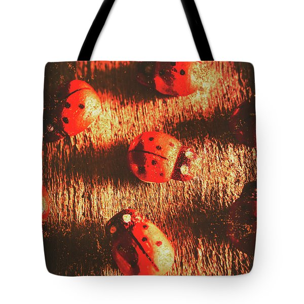 Vintage Wooden Ladybugs Tote Bag