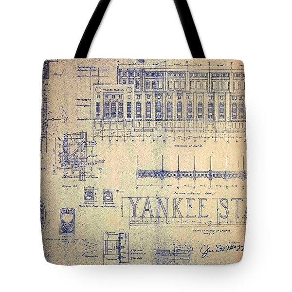 Vintage Yankee Stadium Blueprint Signed By Joe Di Maggio Tote Bag by Peter Gumaer Ogden Collection