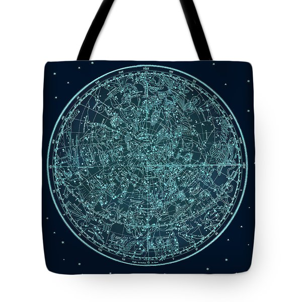 Vintage Zodiac Map - Teal Blue Tote Bag