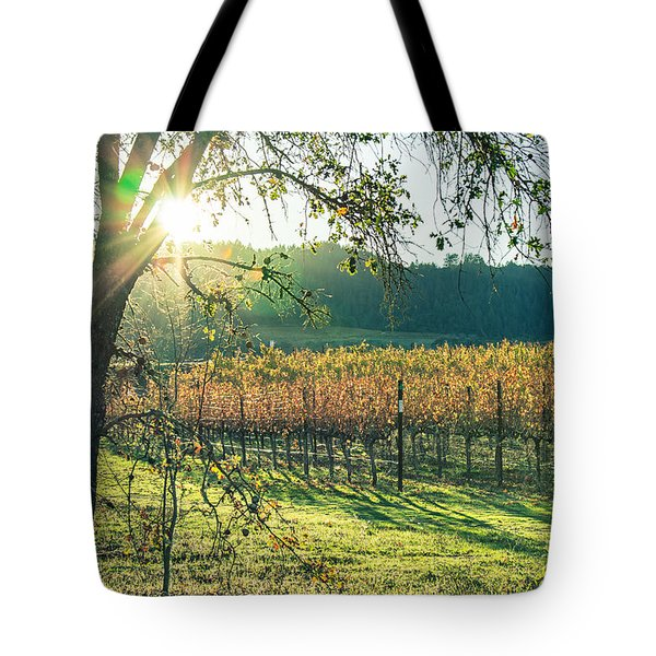 Tote Bag featuring the photograph Vinyard Sunset by Kim Wilson