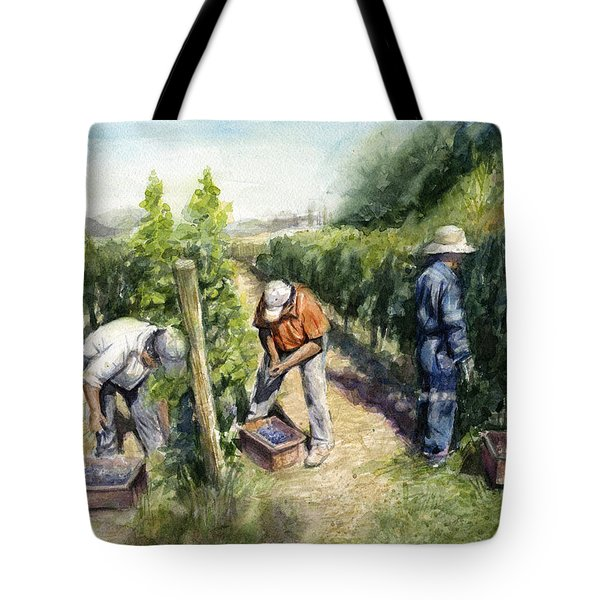 Vineyard Watercolor Tote Bag