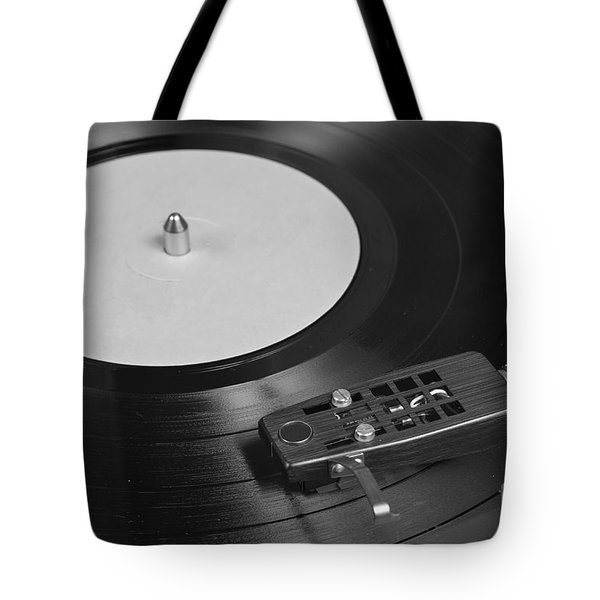 Vinyl Record Playing On A Turntable Overview Tote Bag