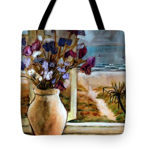 Violet Beach Flowers Tote Bag