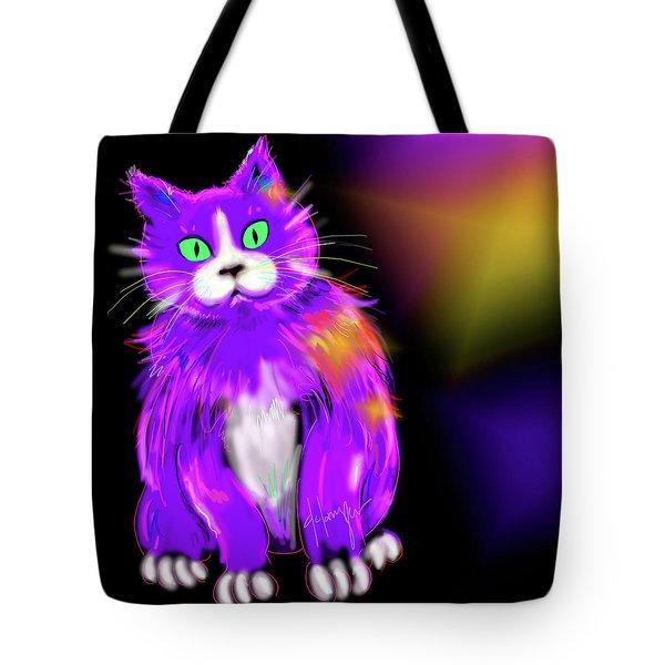 Violet Dizzycat Tote Bag