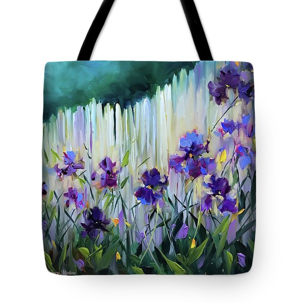 Violet Joy Iris Garden Tote Bag