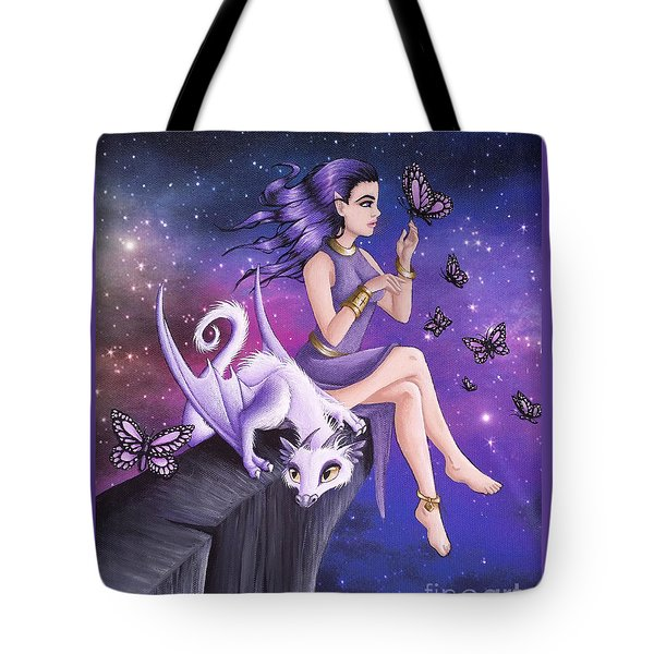Tote Bag featuring the painting Violet Night Fantasy by Mary Hoy