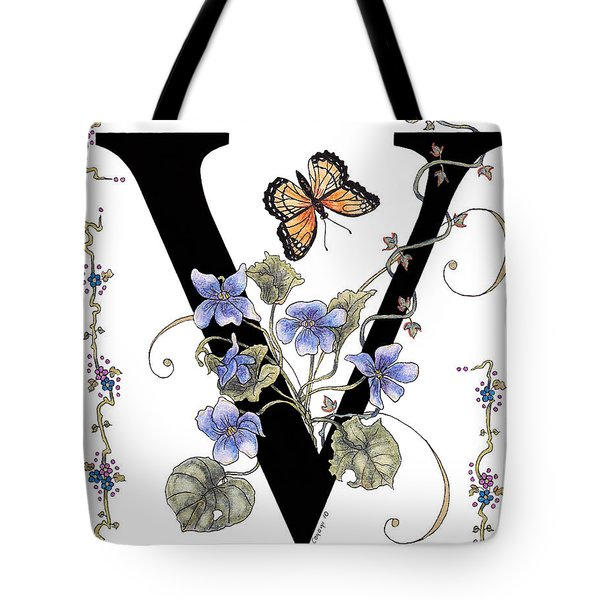 Violets And A Viceroy Butterfly Tote Bag