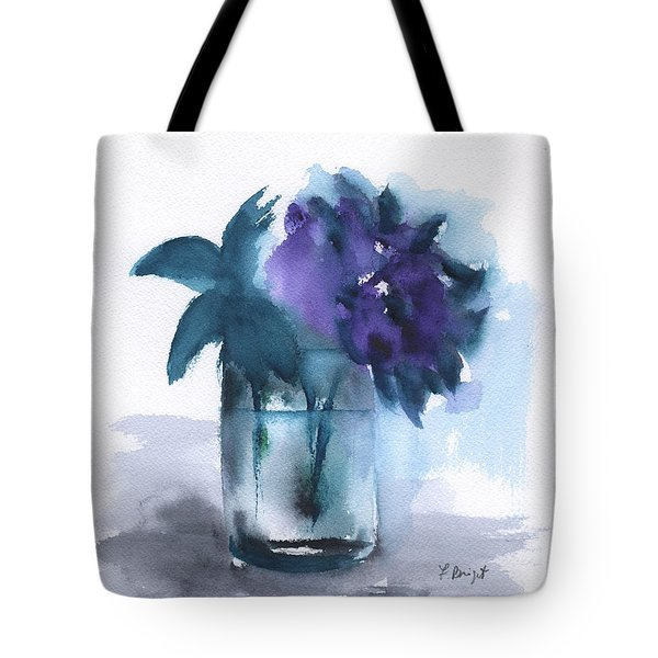 Violets In A Glass Abstract Tote Bag by Frank Bright