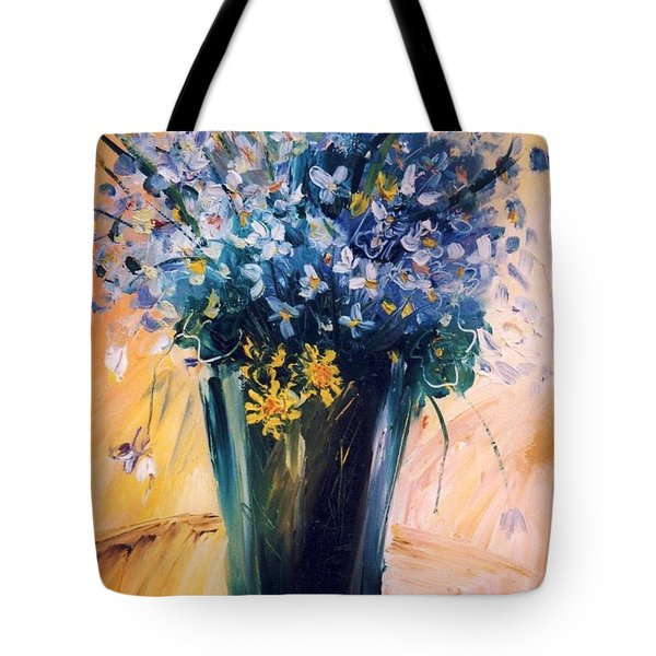 Tote Bag featuring the painting Violets by Mikhail Zarovny