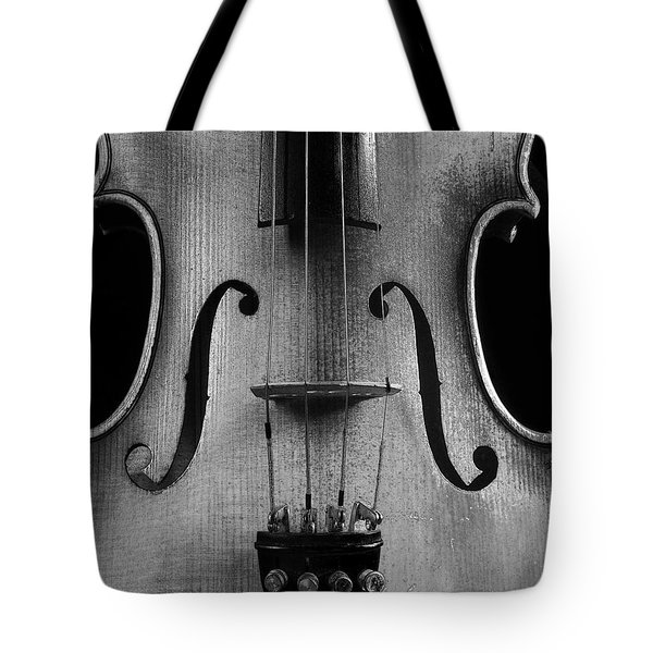 Tote Bag featuring the photograph Violin # 2 Bw by Jim Mathis