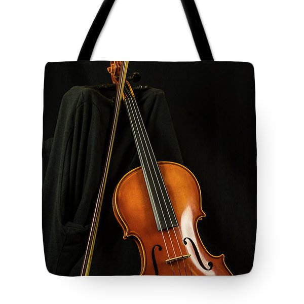 Tote Bag featuring the photograph Violin And Bow by Michael D Miller