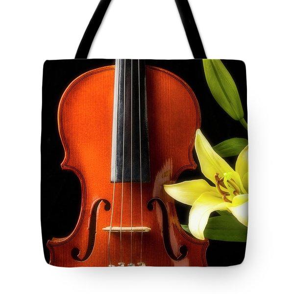 Violin And Lily Tote Bag