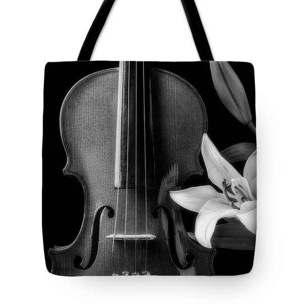 Violin And Lily In Black And White Tote Bag