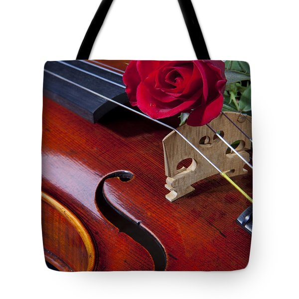 Violin And Red Rose Tote Bag