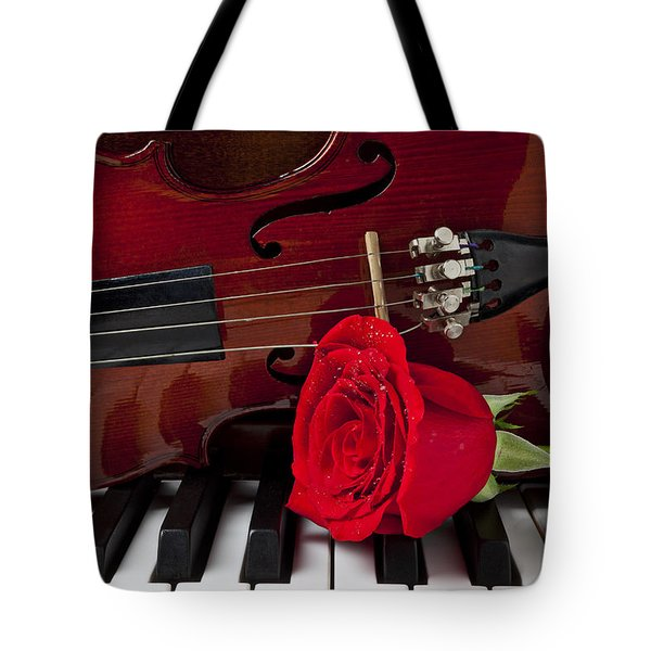 Violin And Rose On Piano Tote Bag
