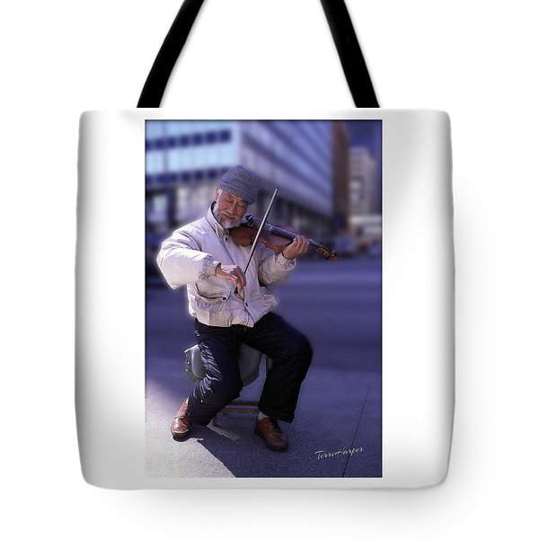 Tote Bag featuring the photograph Violin Guy by Terri Harper