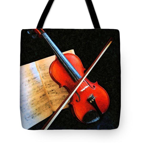 Violin Impression Tote Bag by Kristin Elmquist