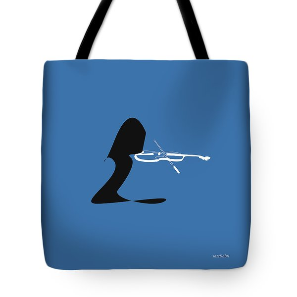 Violin In Blue Tote Bag