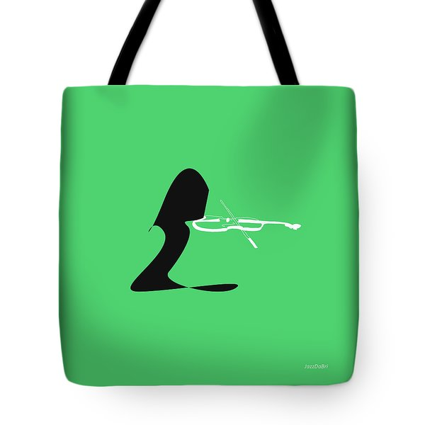 Violin In Green Tote Bag