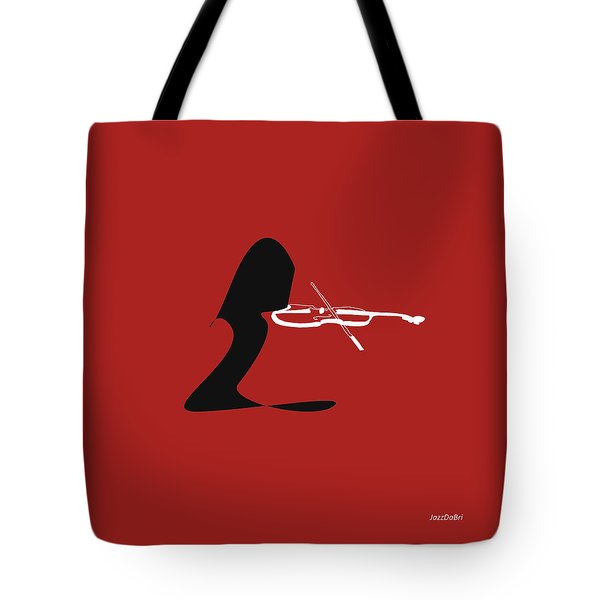 Violin In Orange Red Tote Bag