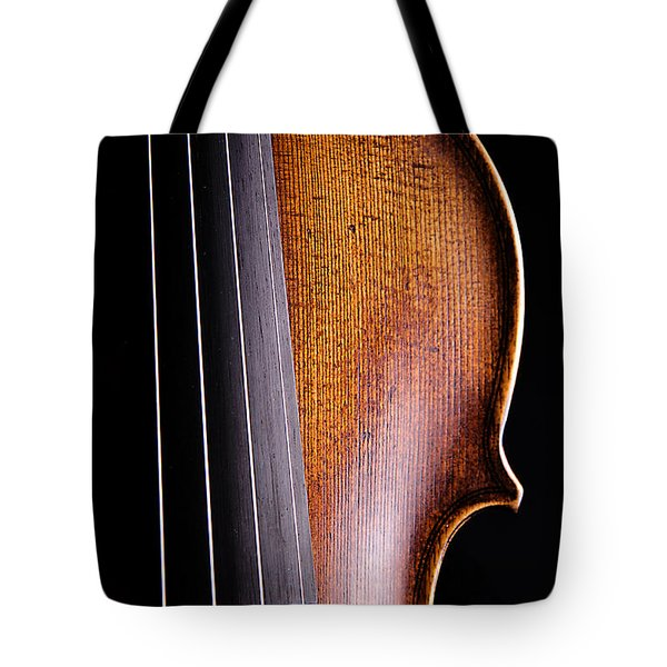 Violin Isolated On Black Tote Bag