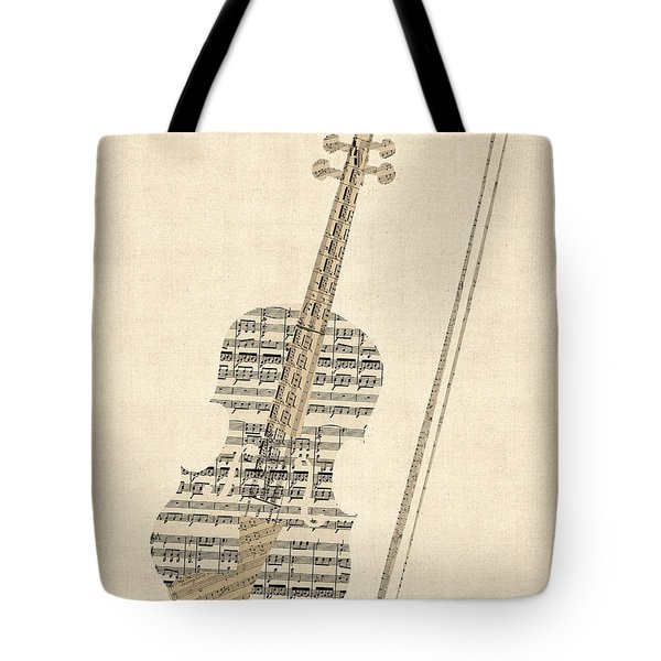 Violin Old Sheet Music Tote Bag